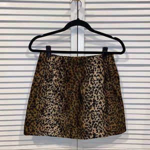 Vtg 90s high rise leopard faux fur skirt